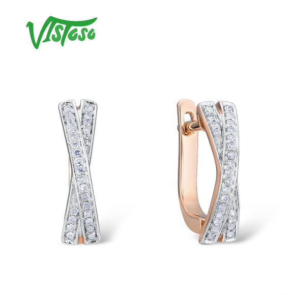 VISTOSO Gold Earrings For Women Genuine 14K 585 Rose Gold Sparkling Diamond Exquisite - Beltran's Enterprise