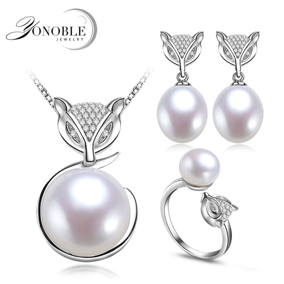 Real FOX natural pearl jewelry sets for women 925 silver sterling wedding natural pearl set pendant earring ring birthday gift
