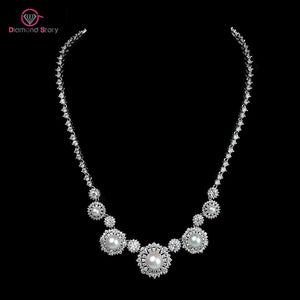 LUOTEEMI Luxurious New Noble White Gold-Color AAA CZ Round Imitation Pearl Necklace - Beltran's Enterprise
