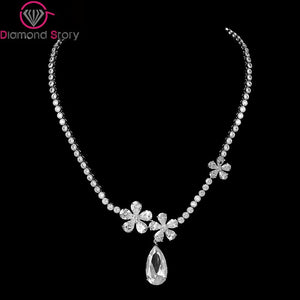 LUOTEEMI Luxury White Gold-Color Waterdrop AAA CZ 3 Flowers Round Chain Necklace - Beltran's Enterprise