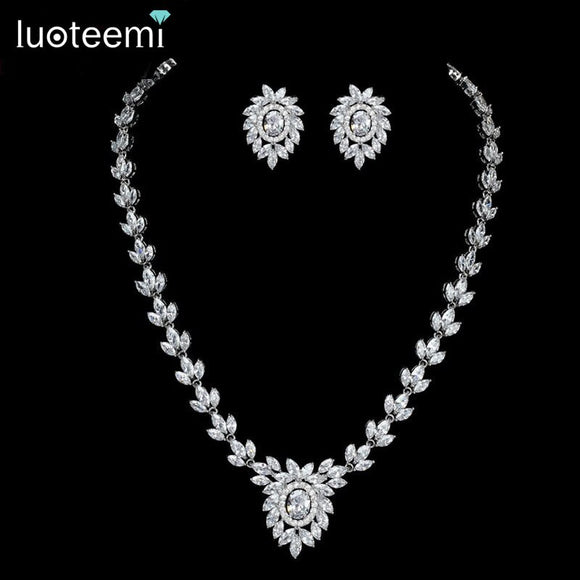 LUOTEEMI New Noble Jewelry White Gold-Color Clear CZ Leaf and Flower Pendant Necklace - Beltran's Enterprise