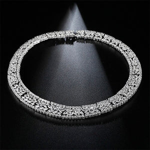 LUOTEEMI New Luxurious Gorgeous Micro Paved Crystal CZ Flower Earrings Necklace - Beltran's Enterprise