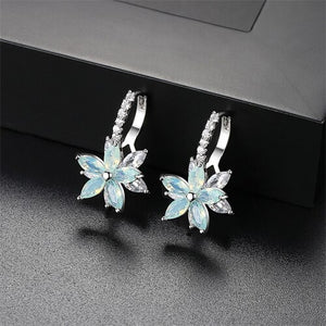 LUOTEEMI Cute Romantic Lovely Clear Stone Flower Shape Convenient Simple Stud Earrings - Beltran's Enterprise