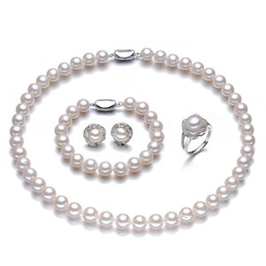 NYMPH Round Natural Freshwater Pearl Jewelry Sets For Women Fine Jewelry 8-9mm - Beltran's Enterprise