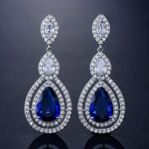 Bague Ringen Water Drop Shaped Silver 925 Jewelry Gemstones Earrings for Women - Beltran's Enterprise