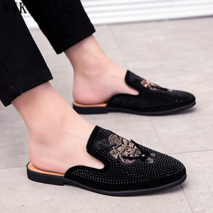 Mules Suede Shoes Men Half Shoes For Men Rhinestone Luxury Men Shoes Fashion - Beltran's Enterprise