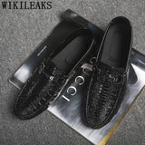 Patent Leather Shoes Men Loafers Men Crocodile Shoes Mens Casual Shoes Hot Sale - Beltran's Enterprise
