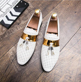 Summer Breather Hollow Out Formal Shoes Mens Leather White Wedding Shoes - Beltran's Enterprise