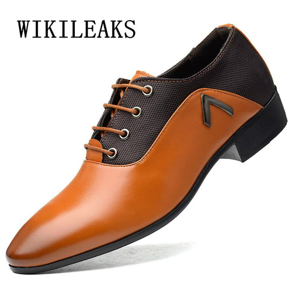 Mens Pointed Toe Dress Shoes Leather Designer Oxford Shoes For Men - Beltran's Enterprise