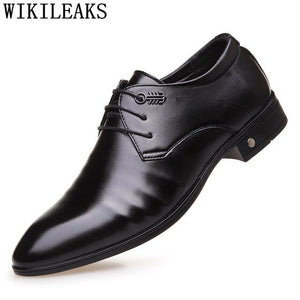 Luxury Brand Mens Dress Shoes Leather Pointed Toe Men Party Wedding Shoes - Beltran's Enterprise