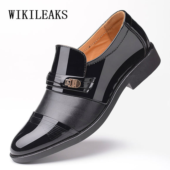 Mens Pointed Toe Dress Shoes Patent Leather Men Shoes Loafers Slip On Wedding - Beltran's Enterprise