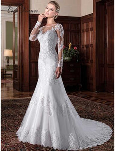 Illusion Vintage Mermaid Wedding Dress vestidos de novia 2020 Embroidery Appliques White - Beltran's Enterprise