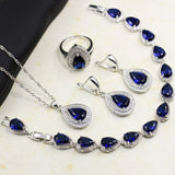 Bague Ringen Water Drop Shaped Sapphire Silver 925 Jewelry Sets - Beltran's Enterprise