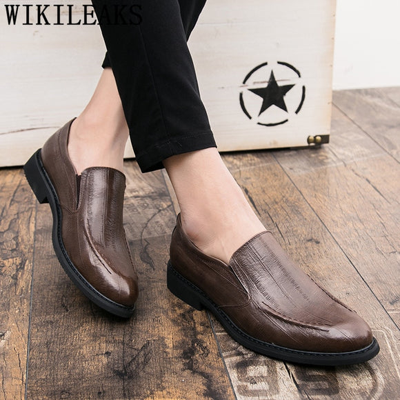Loafers Business Shoes Men Oxford Leather Pointed Mens Shoes Casual Brown Dress Official - Beltran's Enterprise