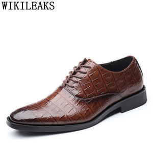 Crocodile Shoes Mens Italian Leather Shoes Formal Shoes Men Classic Coiffeur - Beltran's Enterprise