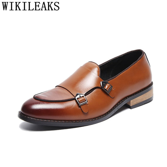 Double Monk Strap Shoes Formal Leather Shoes For Men Italian Business Shoes Men - Beltran's Enterprise