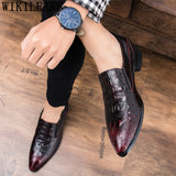 Crocodile Shoes Men Formal Coiffeur Oxford Shoes For Men Italian Brand Leather Shoes - Beltran's Enterprise