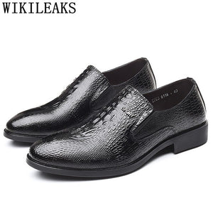 Crocodile Shoes Loafers Mens Office Shoes Leather Black Gents Shoes Italian Zapatos - Beltran's Enterprise