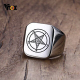 Vnox Quaternary Knot Signet Ring for Men Free Engraving 18mm - Beltran's Enterprise