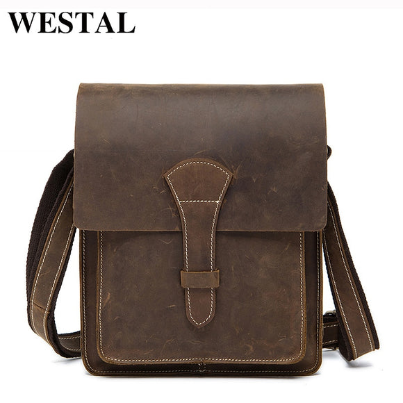WESTAL crazy horse leather messenger bag men genuine leather - Beltran's Enterprise