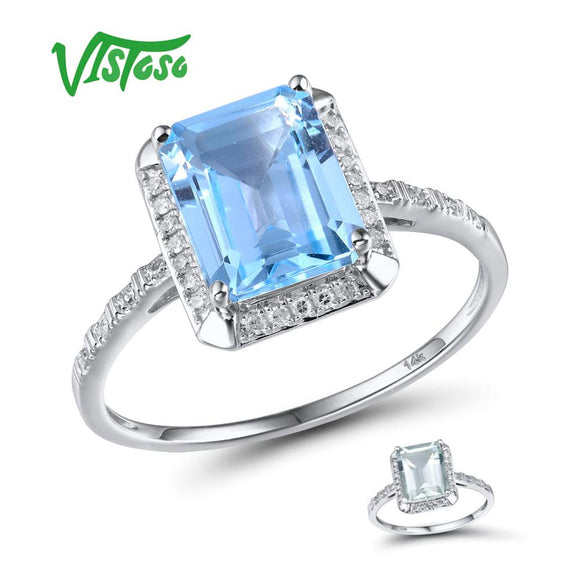 VISTOSO 14K 585 White Gold Rings For Women Shiny Diamond Limpid Sky Blue Topaz/Green Amethyst - Beltran's Enterprise