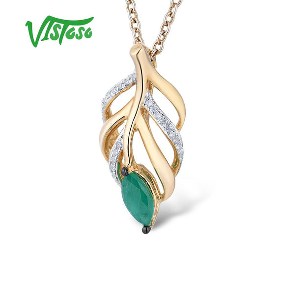 VISTOSO Gold Pendants For Women Authentic 14K 585 Yellow Gold Hollow Leaves Magic Emerald - Beltran's Enterprise