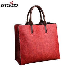 Women Handbag High Quality PU Leather Top-handle Tote Elegant Lady Solid Contract - Beltran's Enterprise