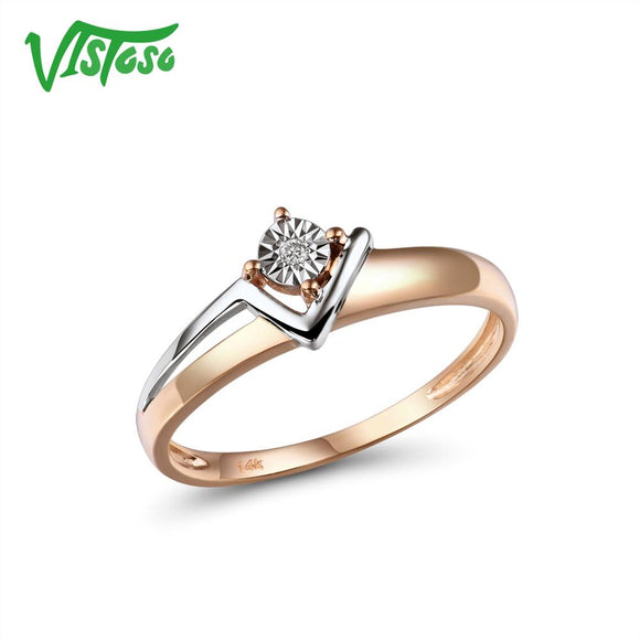 VISTOSO Pure 14K 585 Two-Tone Gold Sparkling Illusion-Set Miracle Plate Diamond Ring For Women - Beltran's Enterprise