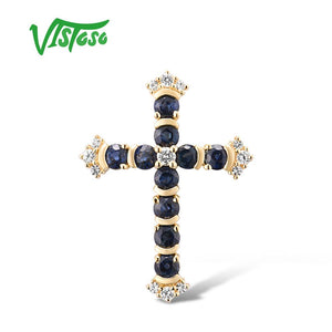 VISTOSO Gold Pendants For Women Authentic 14K 585 Yellow Gold Cross Pendant Blue Sapphire - Beltran's Enterprise