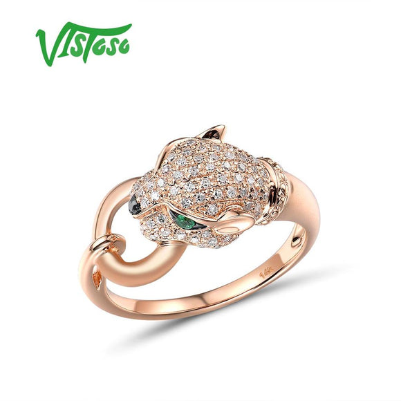 VISTOSO Gold Ring For Women Genuine 14K 585 Rose Gold Leopard Ring Emerald Sparkling Diamond - Beltran's Enterprise