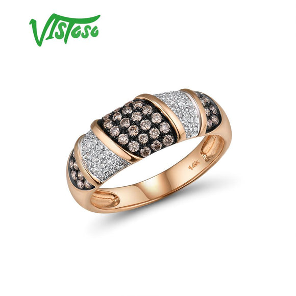 VISTOSO Pure 14K 585 Rose Gold Starry Diamond Brown Diamond Delicate Ring For Women - Beltran's Enterprise