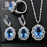 Bague Ringen Flower shaped Silver 925 Jewelry Sets for Wedding Gemstones - Beltran's Enterprise