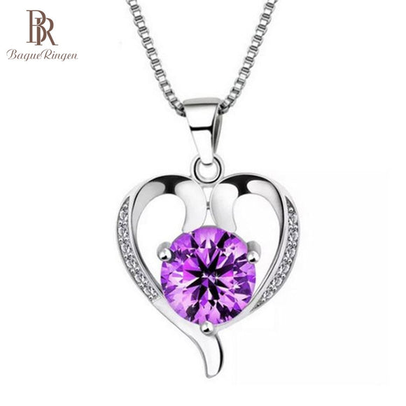 Bague Ringen Trendy Heart shaped Pendant Silver 925 Necklace - Beltran's Enterprise