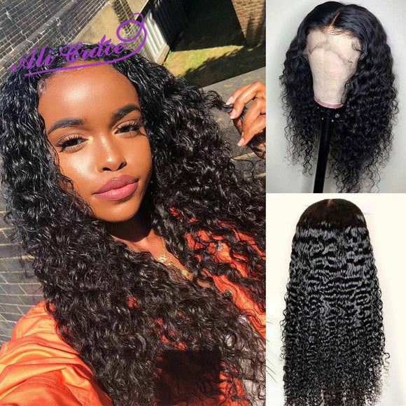 Ali Grace Peruvian 13x6 13X4 Lace Front Wig With Baby Hair Kinky Curly Lace Front Human Hair Wigs Natural - Beltran's Enterprise