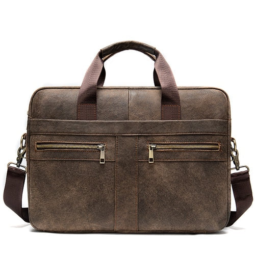 WESTAL briefcase messenger bag men's genuine leather 14'' laptop bag men's - Beltran's Enterprise