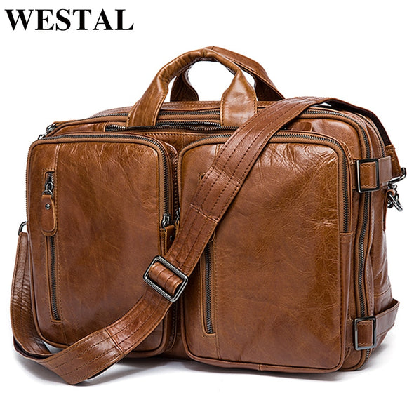 WESTAL Men's Briefcase messenger bag men leather briefcase - Beltran's Enterprise