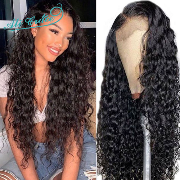 Ali Grace Wig Peruvian Water Wave Wig 13x4 Lace Front Human Hair Wigs with Baby Hair 360 Water - Beltran's Enterprise