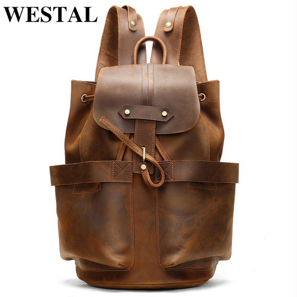 WESTAL 100% Crazy Horse Leather Backpack for Men Large Capacity School Bags Rucksack String - Beltran's Enterprise