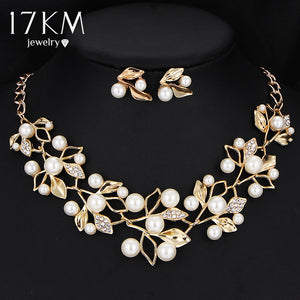 17KM Gold Color Simulated Pearl Jewelry Set for Women - Beltran's Enterprise