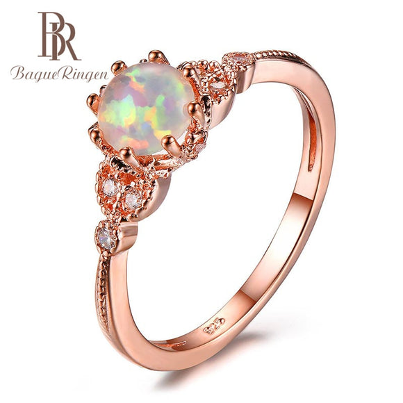 Bague Ringen 100% Real Sterling 925 Silver Finger Ring With Round Opal Zircon Gemstone  Jewelry Wedding Party Gift For Women - Beltran's Enterprise