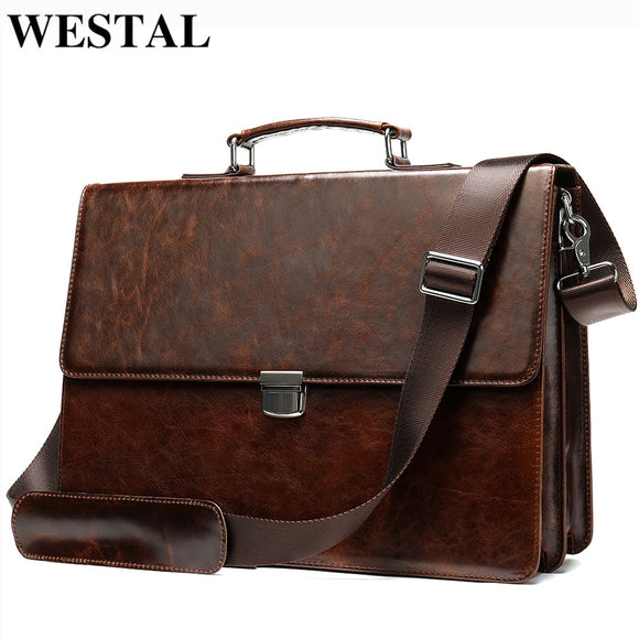 WESTAL Business Men Briefcases Men's Genuine Leather Bags - Beltran's Enterprise