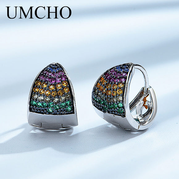 UMCHO Triangle Clip Earrings Colorful Gemstone 925 Silver Sterling Clip Earrings For Women - Beltran's Enterprise