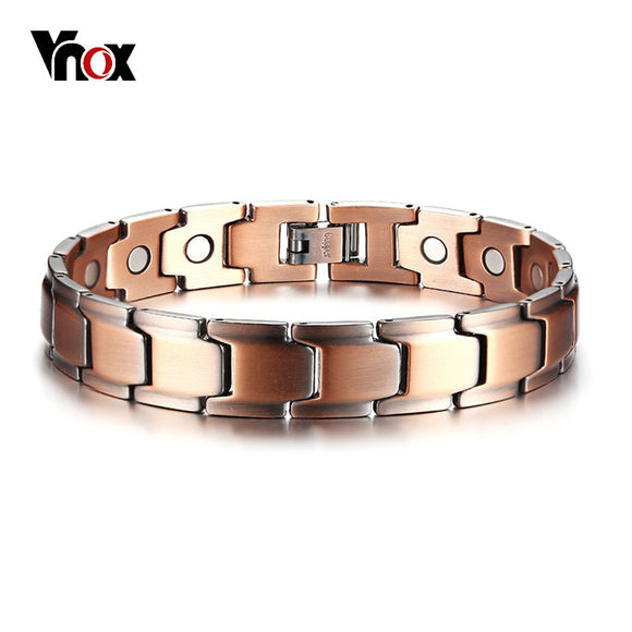 Vnox Casual Men Bracelet Magnetic Therapy Bangle Copper Energy - Beltran's Enterprise