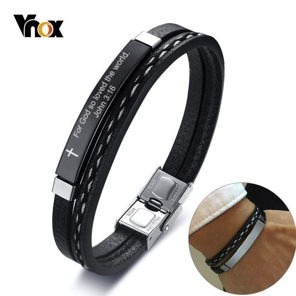 Vnox Assorted Bible Verse Quotes Bracelets for Men Layered Leather - Beltran's Enterprise