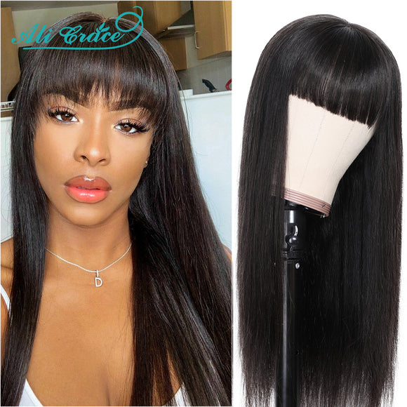 Ali Grace Straight Human Hair Wigs with Bangs Natural Look 13x4 Lace Front Wig Brazilian Straight Lace - Beltran's Enterprise