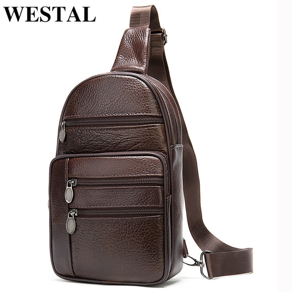 WESTAL Men Chest Bags Male Sling Bag Men's Shoulder Bag Genuine Leather - Beltran's Enterprise
