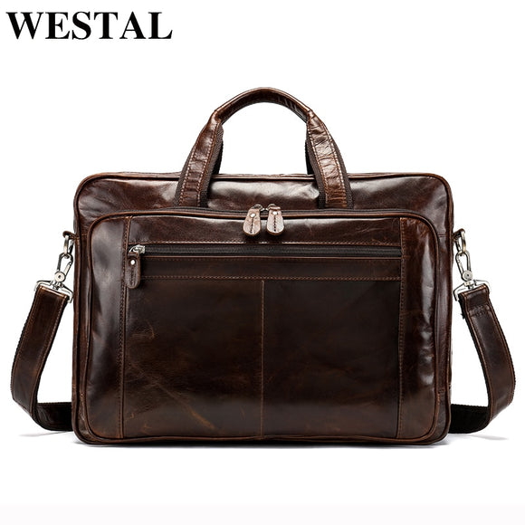WESTAL Multifunction Men Briefcases Bag Men's Genuine Leather - Beltran's Enterprise