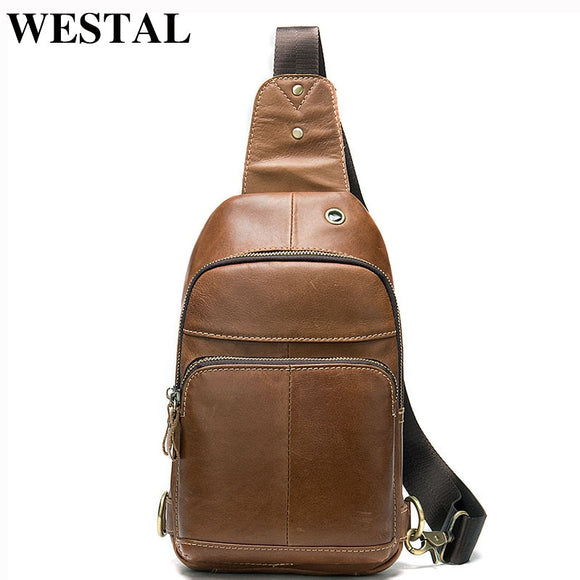WESTAL Men's Chest Bags Male Genuine Leather Casual Sling Bag Men Leather Chest Pack Travel - Beltran's Enterprise