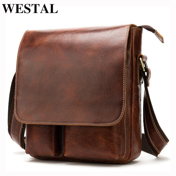 WESTAL Crazy Horse Leather Messenger Bags Men's Genuine - Beltran's Enterprise