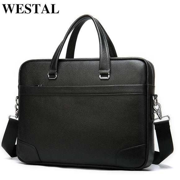 WESTAL 100% men's leather bag business totes men handbags - Beltran's Enterprise